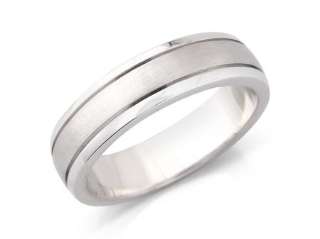 Silver Brushed Centre Wedding Band (AMLH8)