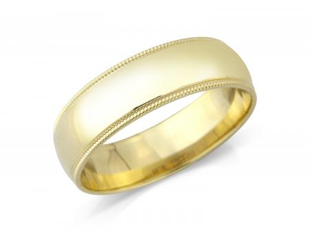 Yellow Gold Beveled Edge Wedding Band (AMHL3-6)