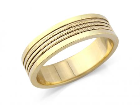 Yellow Gold Rope Centre Wedding Band (AMLH4)