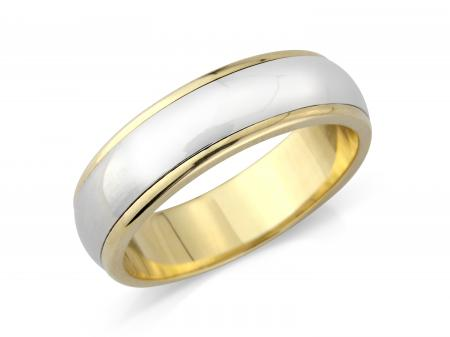 Two Tone D Shape Wedding Band (AMLH5)