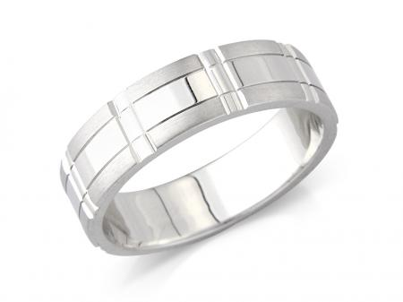 Silver Wide Wedding Band with Contemporary Grid (AMLH6)