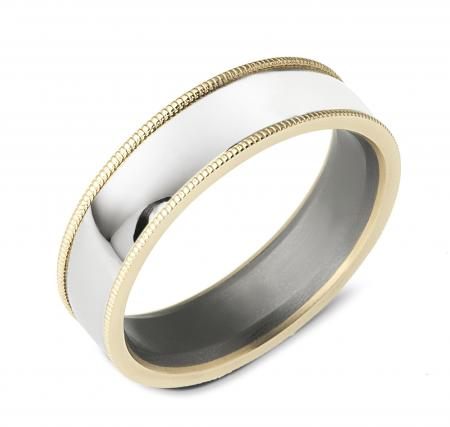 Two Tone Silver and Gold Beveled Edge Wedding Band (AMT11)