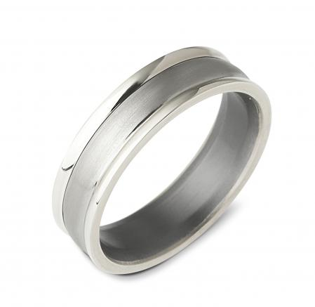Dual Finish Silver Wedding Band (AMT17)