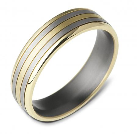 Two Tone Silver and Yellow Gold Wedding Band (AMT18)