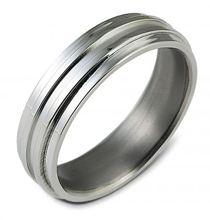 Silver Two Groove Wedding Band (AMTI5)