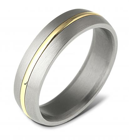 Wide Silver with Gold Centre Wedding Band (AMTI6)