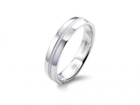 Beveled Grooves Centre Silver Wedding Band (AM1029)
