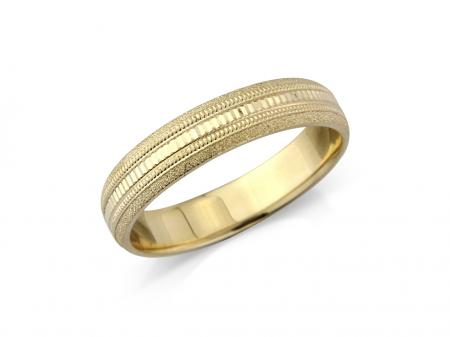 Yellow Gold Multi Design Engraved Wedding Band (AM7245-4)