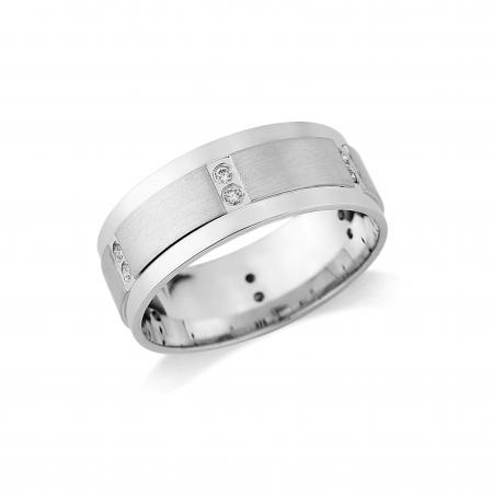 Silver Stone Set Chunky Wedding Band (AM3611)