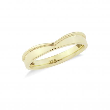 Yellow Gold Shaped Wedding Band (AM3092)