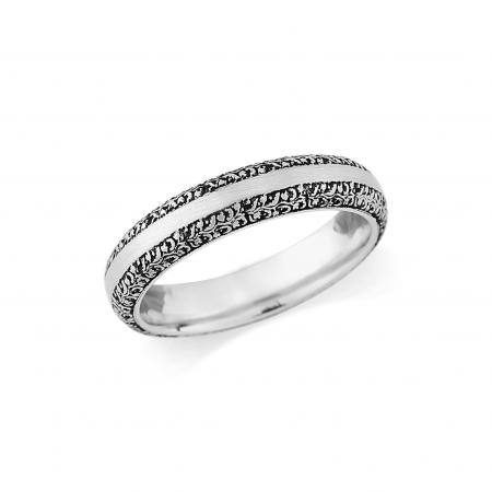 Flower Engraved Silver Wedding Band (AM1202)