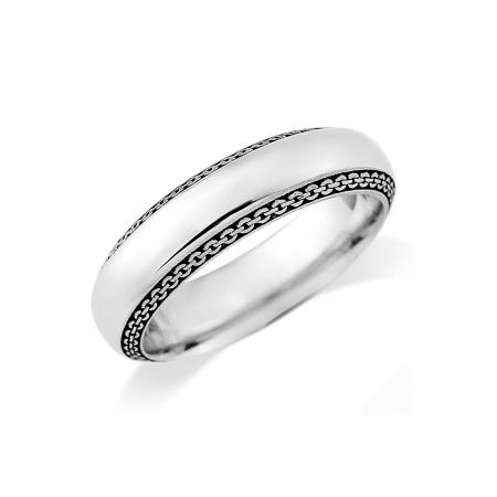 Silver Rope Edge Wedding Band (AM9254)