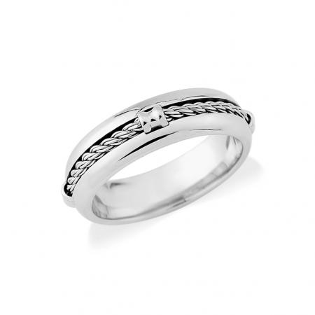Chunky Silver Rope Wedding Band (AM8601)