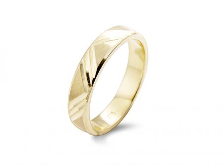 Yellow Gold Engraved Wedding Band (AM1300)