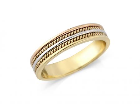 Three Tone Two Rope Wedding Band (AM1051)