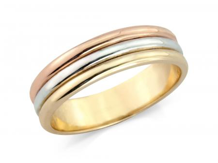 Three Tone Three Band Style Wedding Ring (AM2126)
