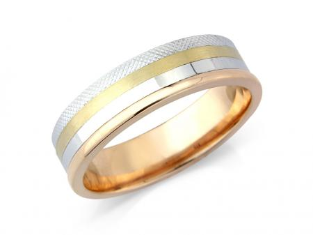 Three Tone Wedding Band (AM5910)