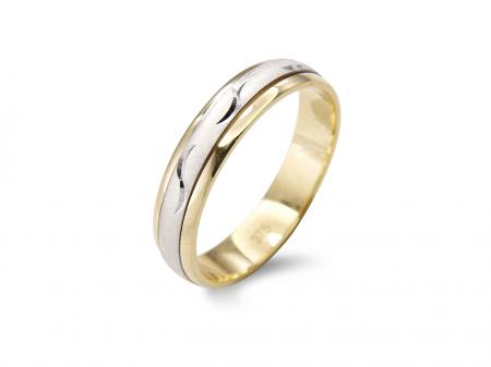 Two Tone Wedding Band with Swirl Style Design (AM2373-4)
