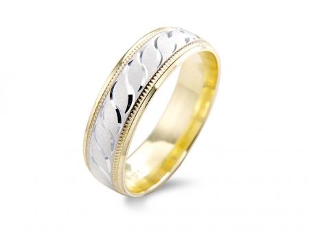 Two Tone Swirl Engraved Wedding Band (AM1396-6)
