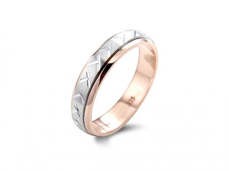 Silver and Rose Zig Zag Wedding Band  (AM0076)