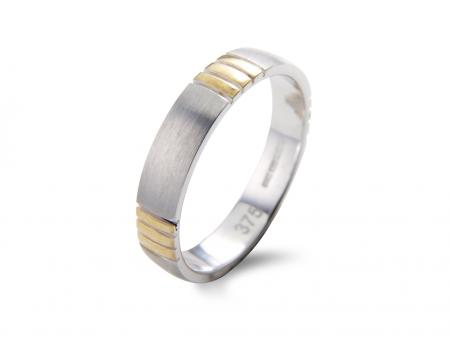 Silver Gold Detail Wedding Band (AM1316)