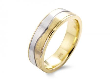 Silver and Gold Wave Wedding Band (AM1500)