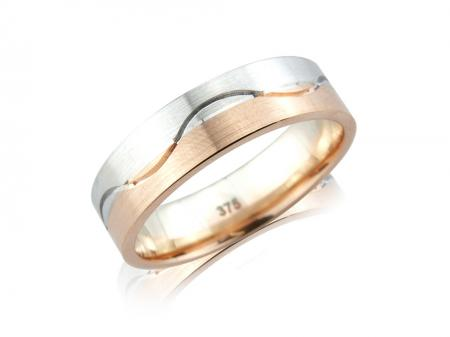 Rose and silver Wave Wedding Band (AM0321M)