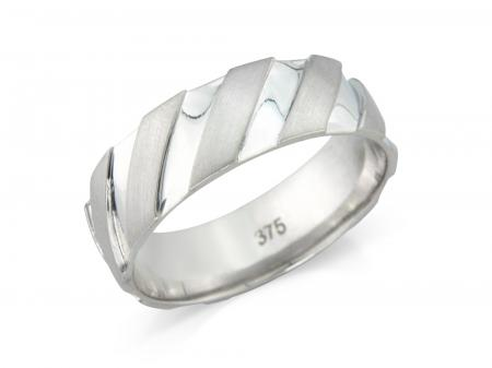 Silver Diagonal Stripes Wedding Band (AM9185)