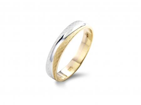 Two Tone Wave Style Wedding Band (AM0062)