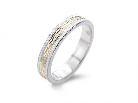 Criss Cross Etched Two Tone Wedding Band (AM1356)