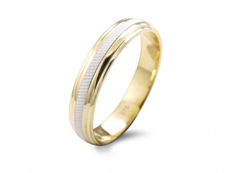Beveled Two Tone Wedding Band (AM1351-4)