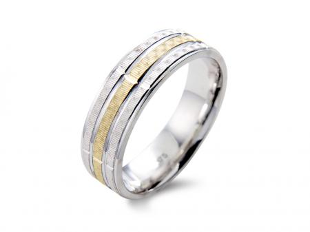 Two Tone 3 Band Wedding Band (AM1338)