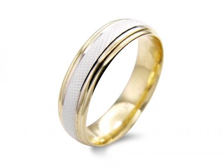 Beveled Two Tone Wedding Band (AM1351-6)