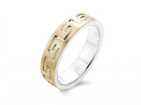 Free Moving Interlocking Wedding Band Gold (AM1504)