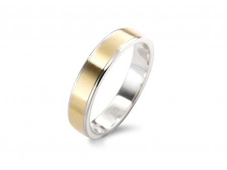 Flat Two Tone Wedding Band (AM1014-4)