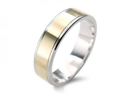 Flate Gold and Silver Wedding Band (AM1014-6)