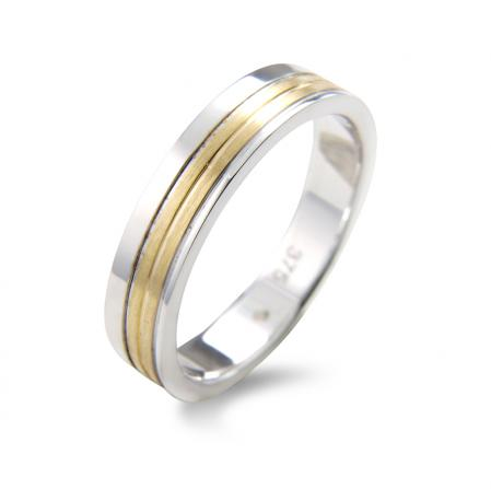 Squared Contemporary Two Tone Wedding Band (AM239)
