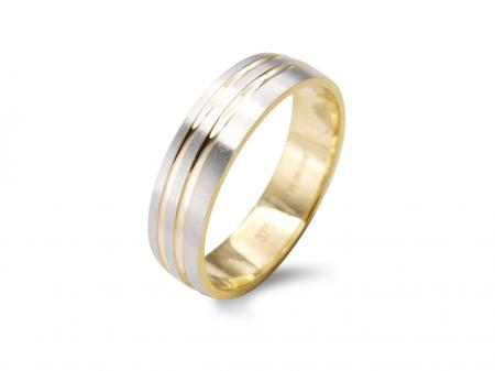 Wide Contemporary Two Tone Wedding Band (AM2279)