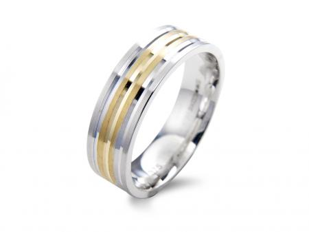 Squared Two Tone Wedding Band (AM1109)