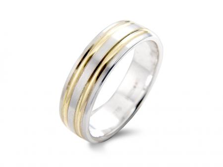 Two Tone Double Band Wedding Ring (AM1123)