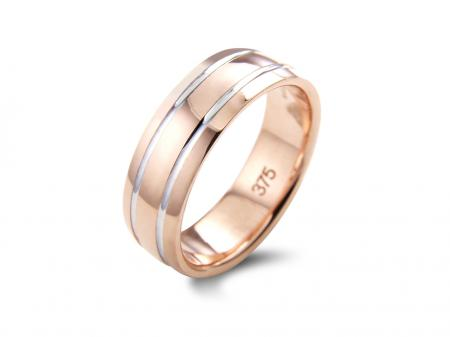 Wide Rose and Silver Polished Wedding Band (AM081-6)