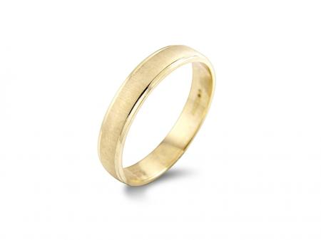 Plain Gold Wedding Band with Brushed Centre (AM0020)
