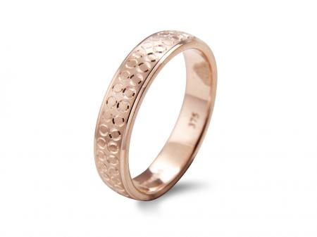 Rose Gold Circular Etched Wedding Band (AM1866R)