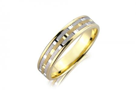 Two Tone Chequered Wedding Band (AM5902)