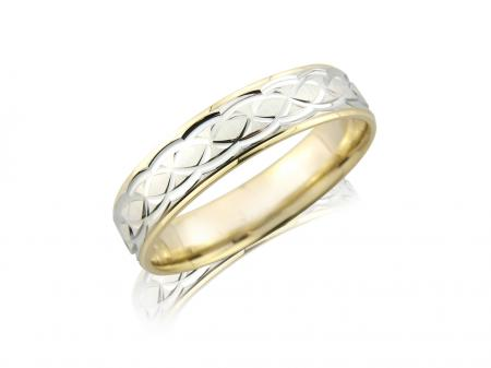 Two Tone Celtic Style Wedding Band (AM3153)