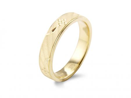 Gold Flower and Leaf Etched Band (AM1369)