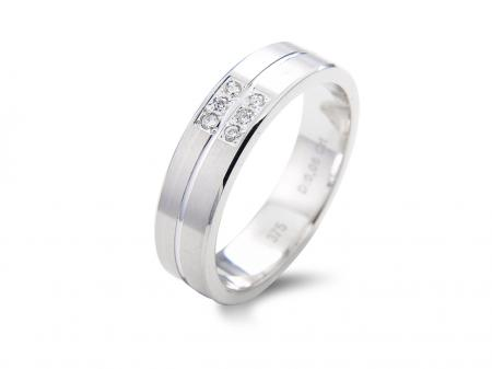 White Wedding Band with Pave Stones (AM1602)
