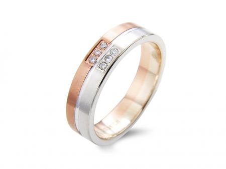 Rose and White Stone Set Wedding Band (AM1831)