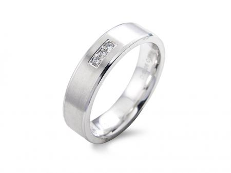 White Brushed Stone Set Wedding Band (AM1422)