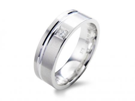 All White Stone Set Wedding Band (AM1860)